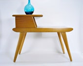 Mid Century Heywood Wakefield Aristocraft End Side Table Champagne Two Tier 1950s