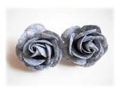 Gray Roses Earrings, Flowers Earrings,  Floral Lovely Earrings, Gray Wool Floral Earrings
