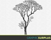 INSTANT DOWNLOAD Vintage Clip Art Tree Silhouette Trees Line Art Commercial Use: CA133