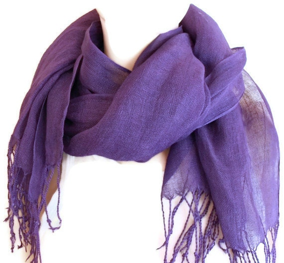 Purple Linen Scarf Womens Head or Neck Scarf, Pure Linen Scarf, hand dyed