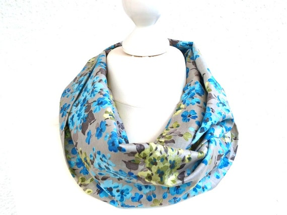 Grey Infinity Scarf turquoise floral Womens Neck Scarf
