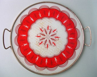 Wonderful Red Vintage Glass Tray