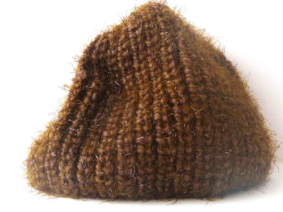 Hand Made Wool Hat / Bonnet - Brown with Golden Glittering