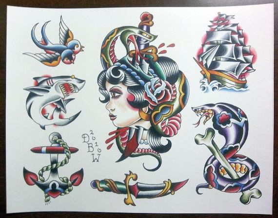Traditional Tattoo Flash Sheet