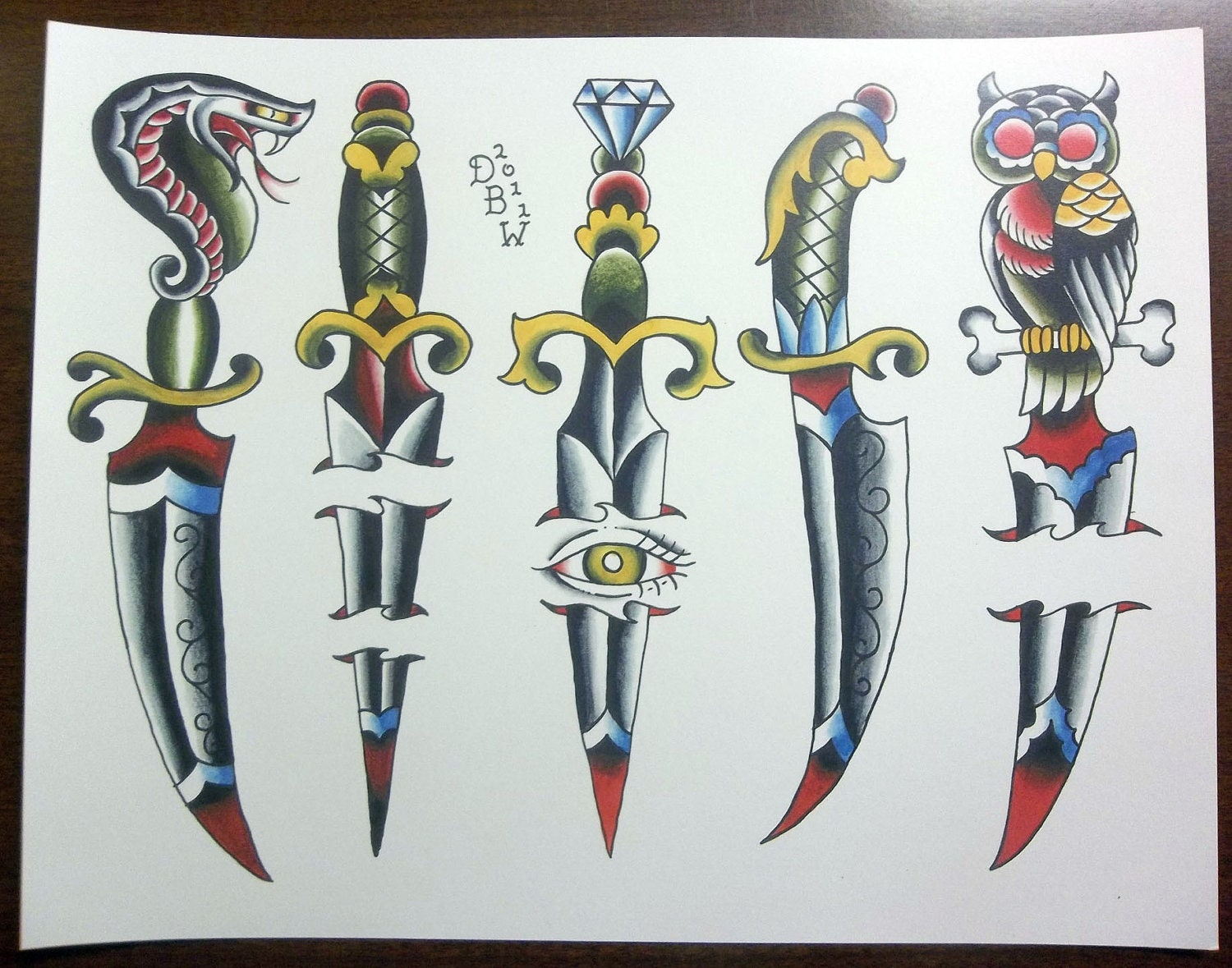 Daggers traditional tattoo flash sheet for Traditional tattoo flash