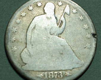 1873 US Liberty Seated Half Silver