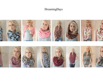 CHOSE ANY 3 - Infinity scarf, Eternity scarf, Circle scarf, Jersey scarf, Tube scarf, Loop scarf, Snood, T-Shirt scarf