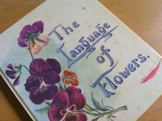 Vintage UK Book Language of Flowers Handwritten Font 1968 HC