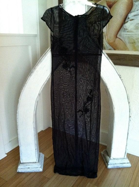 Vintage 90's grunge/ gothic black sheer mesh maxi dress