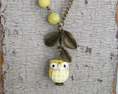 Yellow Owl and Branch Antique Brass Necklace.