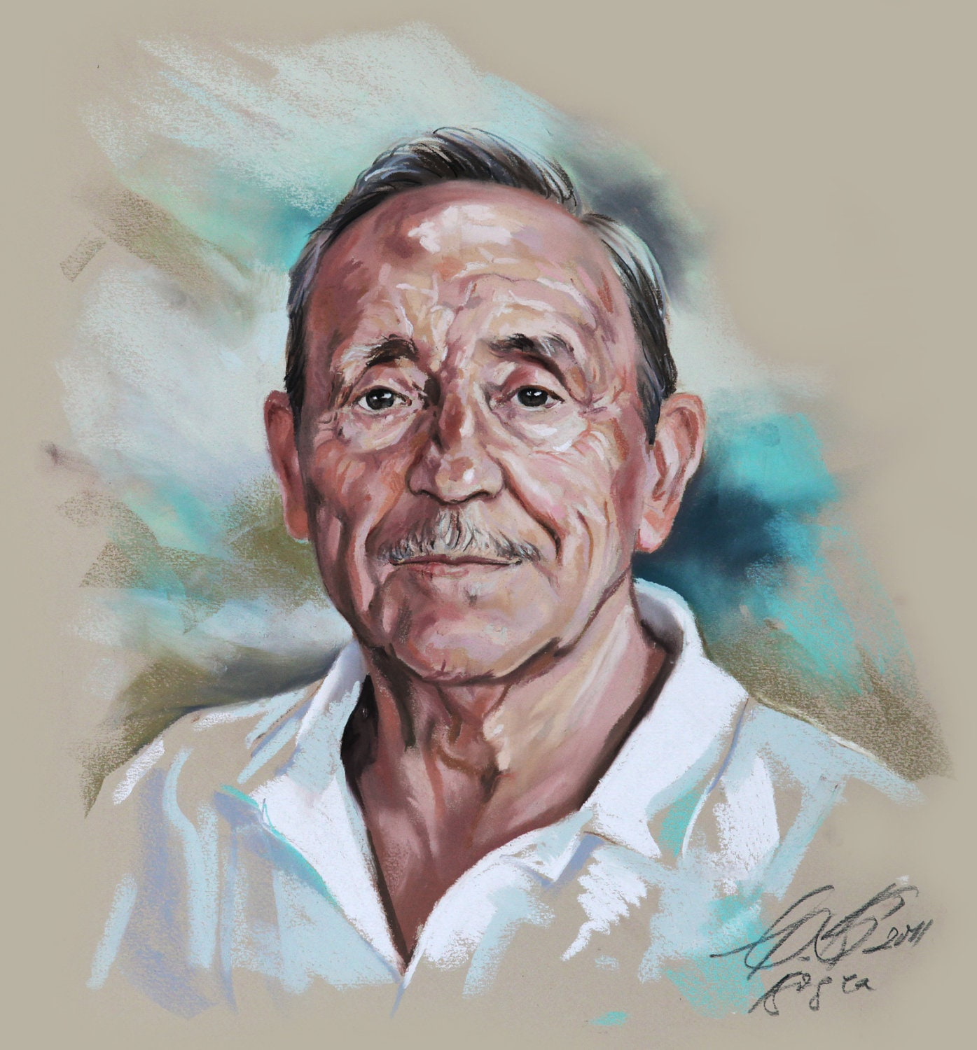 Custom pastel portrait painting of an old man from photography for How to paint a portrait in watercolor