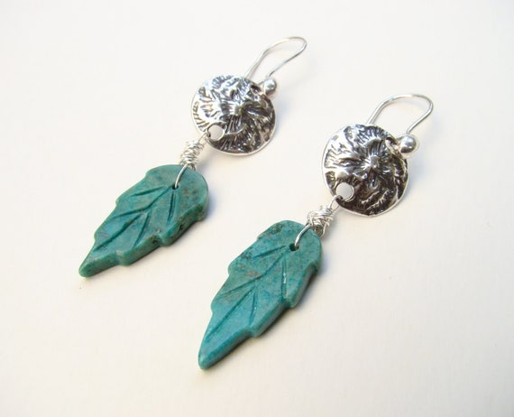 Turquoise earrings, carved leaves earrings, dangle silver earrings, December birthstone turquoise, handmade jewelry, hand-carved leaves