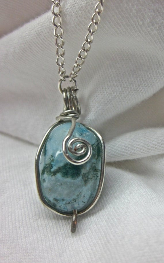 Simple Wire Wrapped Blue and Green Stone Pendant