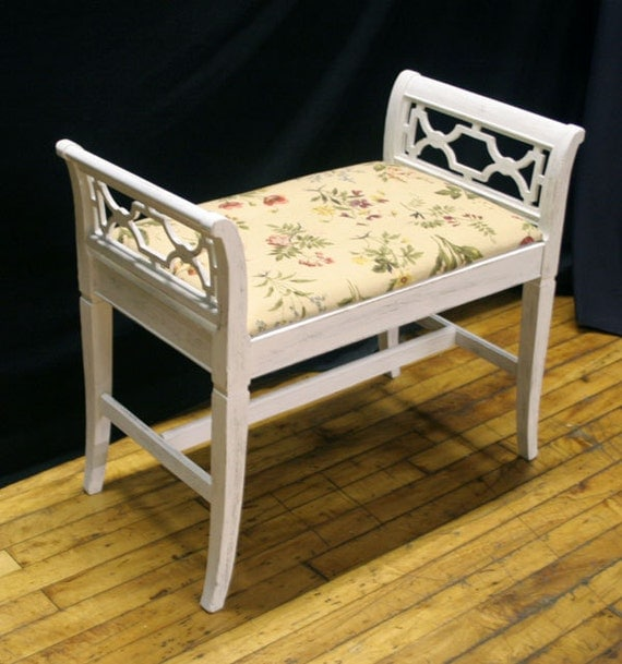 White Distressed Re-Upholstered Victorian Art Nouveau Piano Stool Vanity Bench