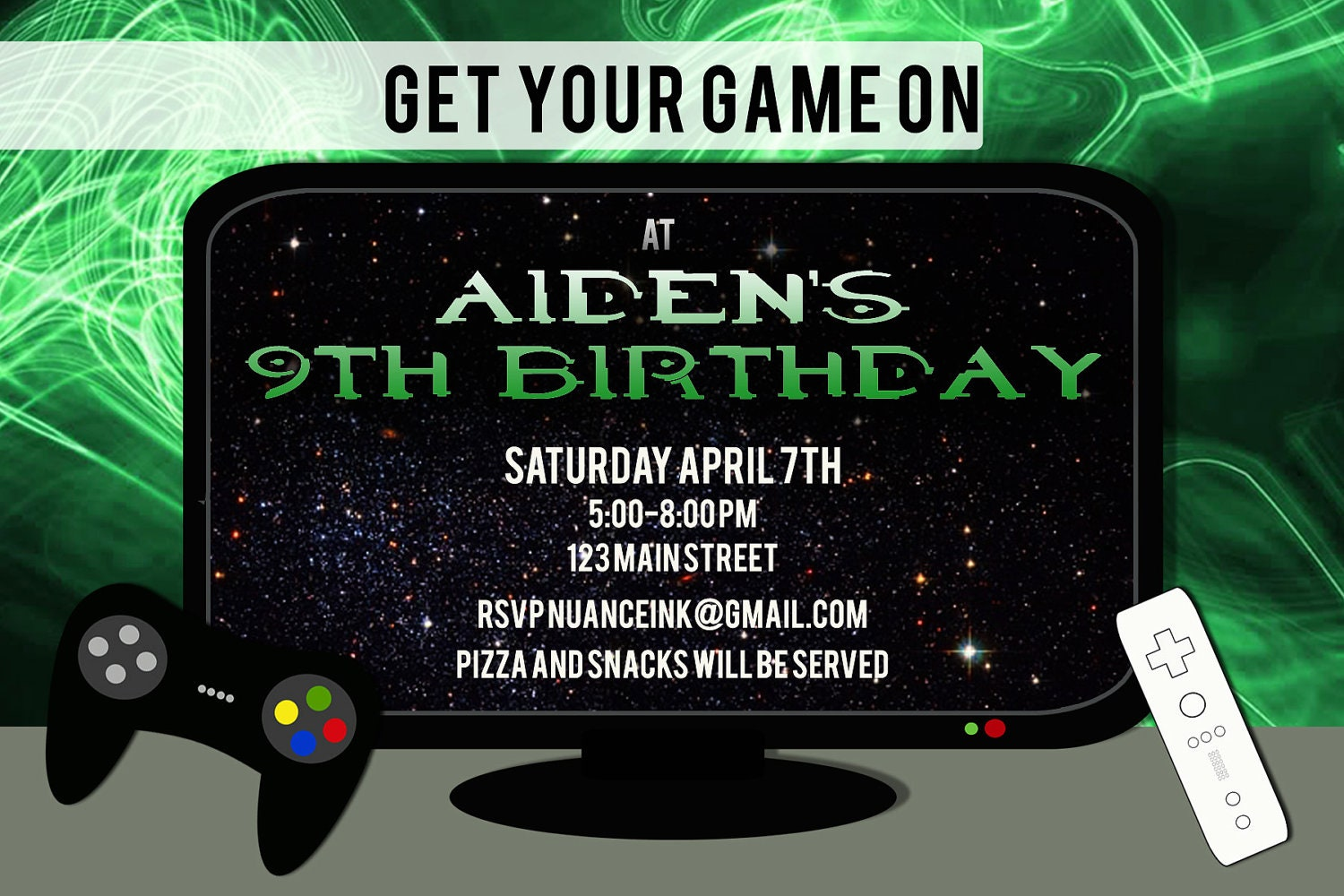 Custom Video Game Gamer Birthday Party Invitation by NuanceInk