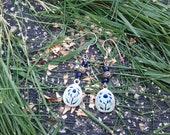 Green and blue flower earrings