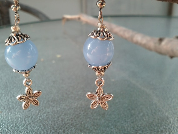 Ocean Blue Bead With Silver Colored Flower - Hand-made