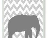 Elephant Chevron Nursery Wall Art Print -  Gray Decor - Children Kid Baby - Wall Art Home Decor  Print