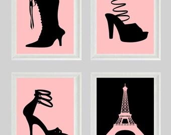 Shoe Paris Art Print  - French Fashion Eiffel Tower Pink Black Girl Wall Art Home Decor
