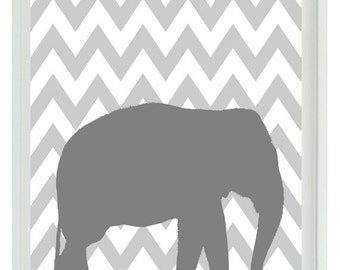 Elephant Chevron Nursery Wall Art Print -  Gray Decor - Children Kid Baby - Wall Art Home Decor  Print