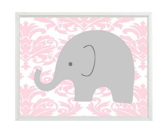 Elephant Nursery Art Wall Print - Gray Pink Damask - Baby Girl Children Kids Modern Room Home Decor