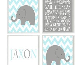 Baby Boy Nursery Art Elephant Chevron  Gray Aqua Wall Art Name Personalize -  Nursery Decor Playroom Rules Quote -
