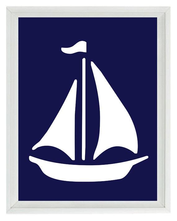 Sailboat Wall Art sailboat wall art print navy blue white nautical nursery