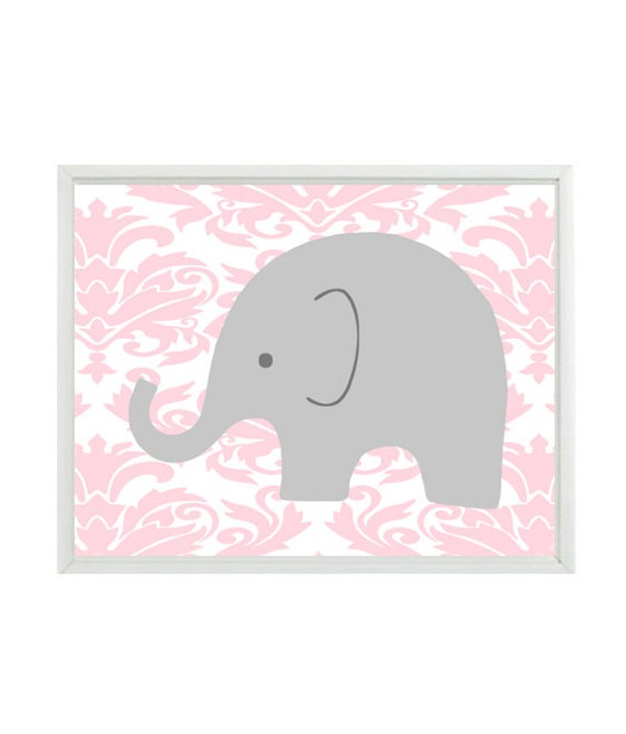 Children S Party Box Wall Art For Girl S Bedroom: Elephant Nursery Art Wall Print Gray Pink Damask Baby Girl