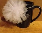 Little Girl Hair Accessory- Snow White Tulle Pom-Pom Ponytail
