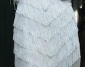 Vintage Ivory FLAPPER FRINGE 1920's Style Shimmy Dress TD4 Eletra Casadei Size 7-8