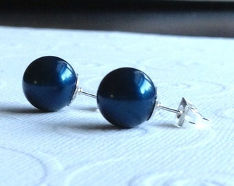 NY Times,Runway,Genuine Swarovski,Pearl Stud Earrings,Midnight, Blue,10mm,Sterling Silver,Posts,Holiday
