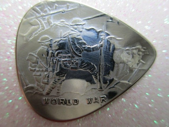 Vintage Old Silver World War Guitar Pick Hand Crafted and Cut Embossed Beautiful Design for Acoustic Electric