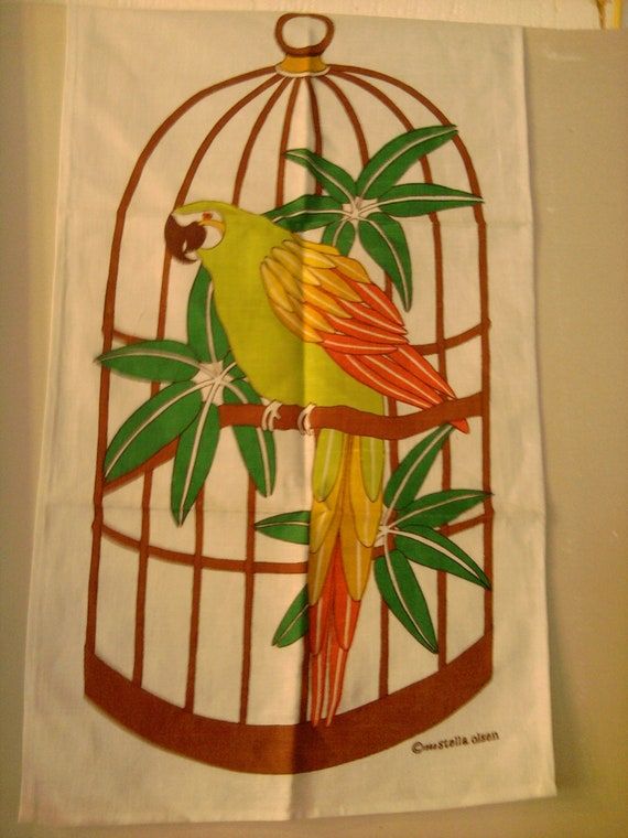 Vintage set of two Stella Olsen linen tea towels with parrot in bird cage