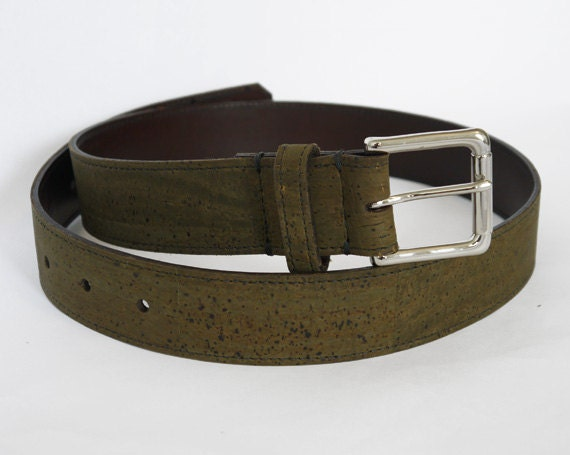 Mens Olive Cork and Leather Belt