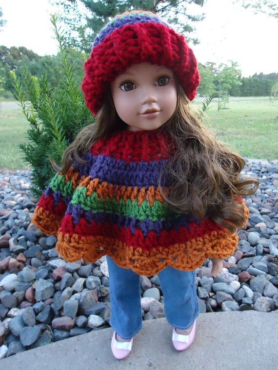American Girl Doll Clothes - Crocheted Poncho & Hat Set in Fall Colors - Also fits most other 18 Inch Dolls