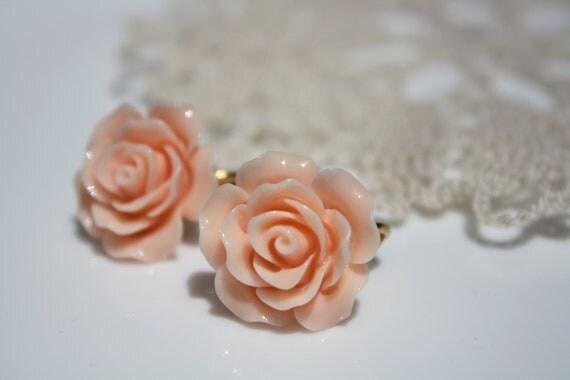 Peach Roses Clip-On Earrings