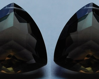 Match 2 Pieces Set, AAA Natural Smoky Quartz Faceted Match Trillion Briolettes 20mm, Calibrated Size