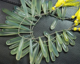 8 Inch Long Strand, 25-35mm Long,Light Yellow Chalcedony  Elongated Drops  Shape Briolettes,Superb-Finest Quality