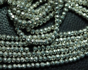 5 x 14 Inches Silver Pyrite, 14 Inches Super Finest AAA Quality Silver Pyrite Faceted Rondelles 3.5mm