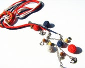 White red blue patriot necklace crochet multi strand lariat necklace