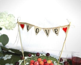 Love Baker Banner wedding cake topper - Rustic Wedding cake banner