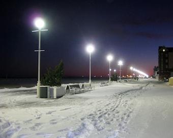Snow Boardwalk 8X10 Photo, Ocean City Maryland, winter photography, beach photography, beach house art, beach at night, city lights, tracks