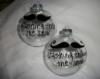 Mustache Glass Christmas Ornament
