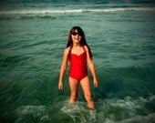 Red Retro one piece girls swimsuit made to order sizes 2-12