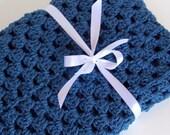 Baby Blanket-Granny Square Afghan-Blue Blanket