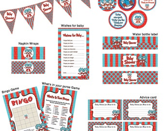 INSTANT DL- Thing 1 Thing 2 Baby Shower- Ready to Go Package- Printable