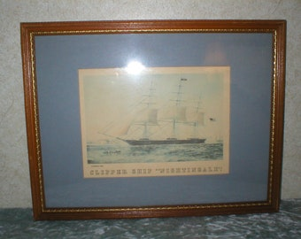 1940's Currier & Ives Framed and Matted Print