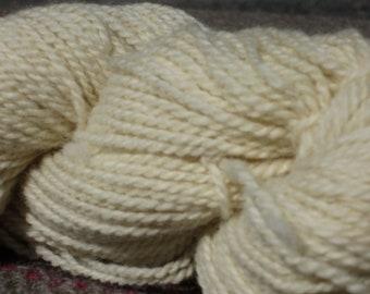 Romney Wool Yarn  -- White, sport weight, 4 1/2 ounces 2-ply skein