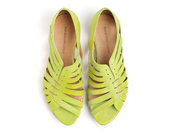 LAST PAIR, Clearance,  Gilly Lime Green, Flat Sandals,
