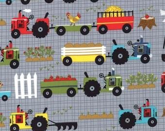 Moda Oink A Doodle Moo Steel Tractors - 1 yard
